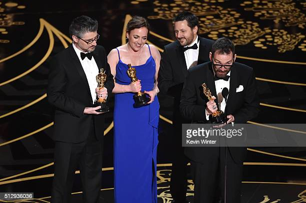 Mark Williams Ardington Sara Bennett Paul Norris and Andrew Whitehurst accept the Best Visual Effects award for 'Ex Machina' onstage during the 88th...