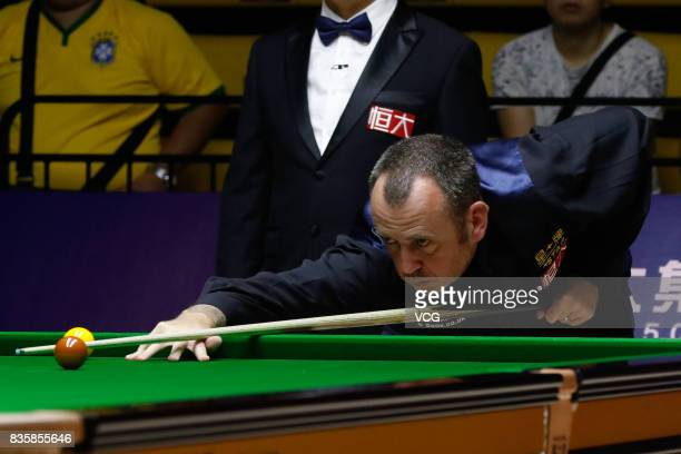 Mark Williams of Wales plays a shot during his quarterfinal match against Li Hang of China on day five of Evergrande 2017 World Snooker China...