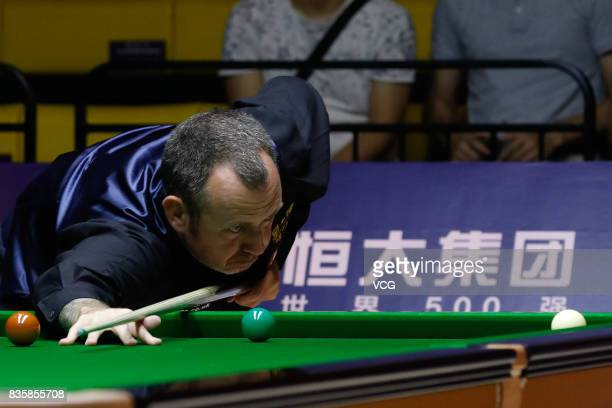 Mark Williams of Wales reacts during his quarterfinal match against Li Hang of China on day five of Evergrande 2017 World Snooker China Champion at...