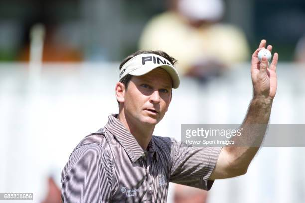 Mark Wilson acknowledges the gallery on the eighteenth green during Round 2 of the CIMB Asia Pacific Classic 2011 at the MINES resort and golf club...