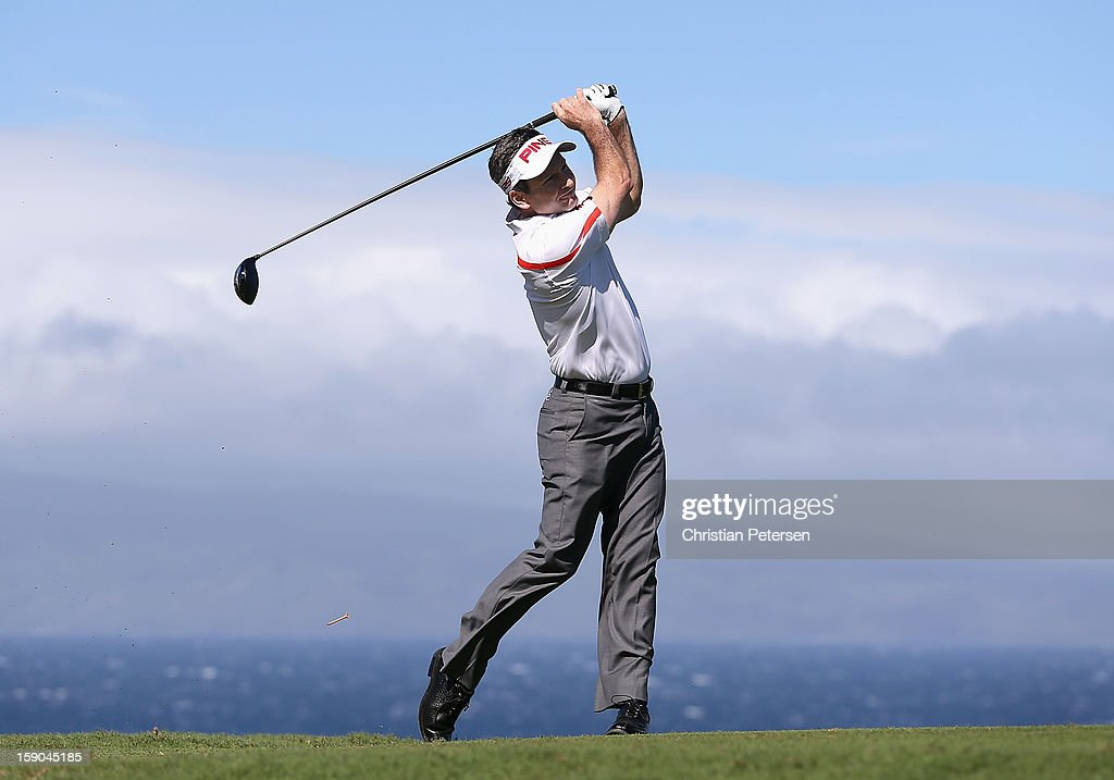 Mark Wilson hits a tee shot on the 10th hole during the replay of the first round of the Hyundai Tournament of Champions at the Plantation Course on January 6, 2013 in Kapalua, Hawaii.