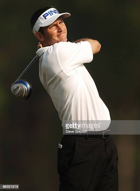 Mark Wilson hits from the 12th tee during the first round of the 2005 Shell Houston Open at the Redstone Golf Club in Houston Texas April 21 2005