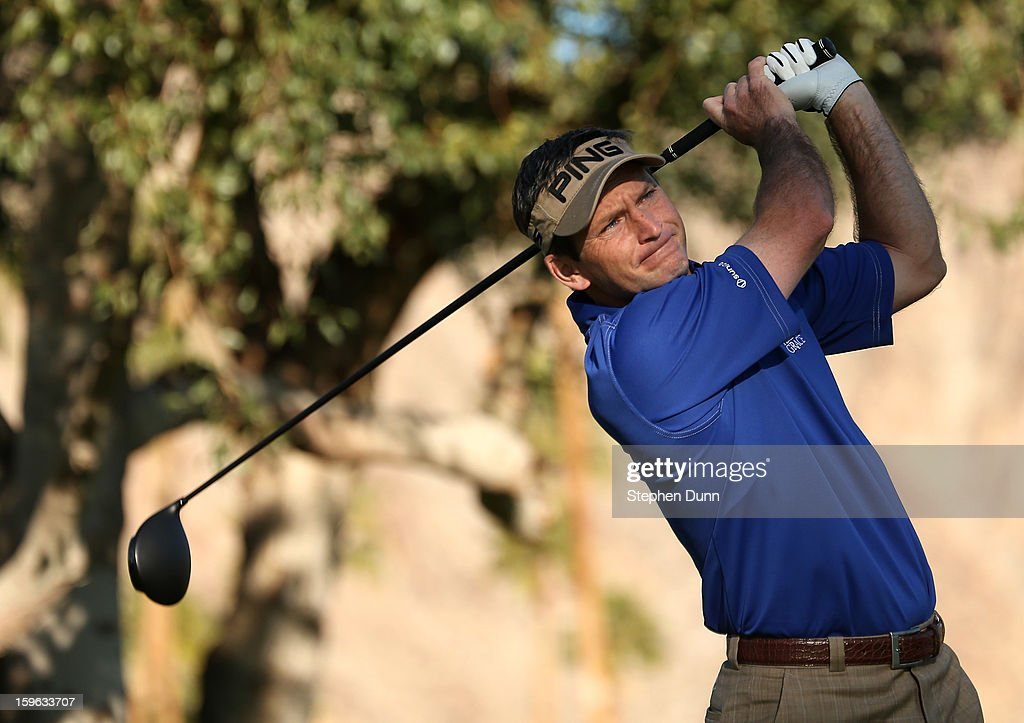 Mark Wilson hits his tee shot on the second hole during the first round of the Humana Challenge in partnership with the Clinton Foundation at La Quinta Country Club on January 17, 2013 in La Quinta, California.