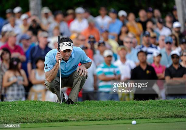 Mark Wilson lines up his par putt on the 17th green during the final round of the Sony Open in Hawaii held at Waialae Country Club on January 16 2011...