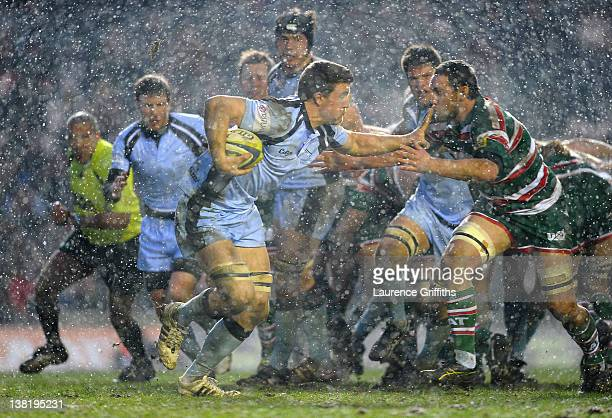Mark Wilson of Newcastle Falcons in action during the LV Cup round four match between Leicester Tiger and Newcastle Falcons at Welford Road on...