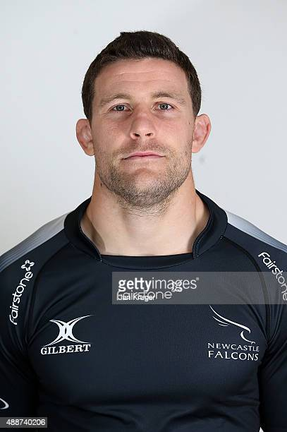 Mark Wilson of Newcastle Falcons poses for a portrait at the photocall held at Kingston Park on September 17 2015 in Newcastle upon Tyne England