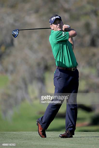 Mark Wilson of the United States plays a shot during a practice round for the Arnold Palmer Invitational Presented By MasterCard at the Bay Hill Club...