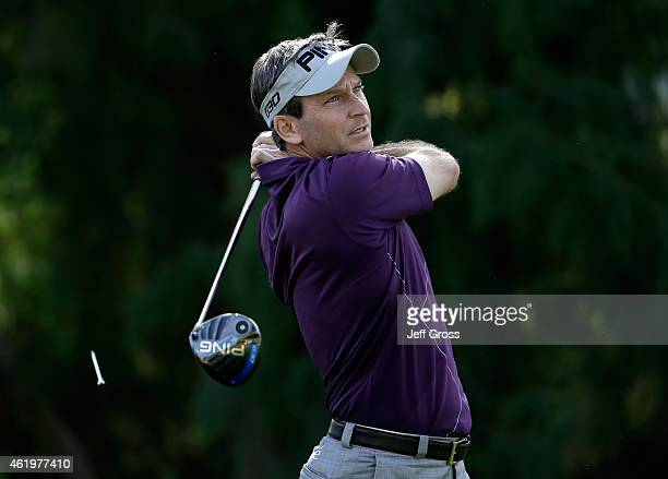 Mark Wilson of the United States tees of on the 16th hole during round one of the Humana Challenge in partnership with The Clinton Foundation on the...