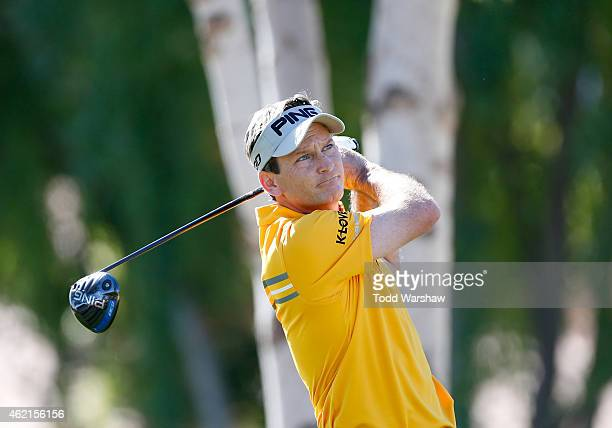 Mark Wilson of the United States tees off on the second hole during the final round of the Humana Challenge in partnership with The Clinton...