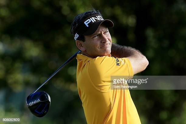 Mark Wilson plays his shot from the first tee during the first round of the Sony Open In Hawaii at Waialae Country Club on January 14 2016 in...
