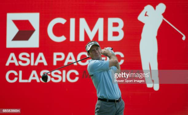 Mark Wilson tees off at the eighteenth during Round 3 of the CIMB Asia Pacific Classic 2011 at the MINES resort and golf club on 29 October 2011 near...