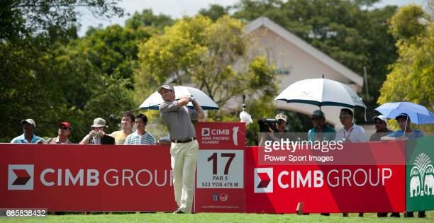 Mark Wilson tees off at the seventeenth during Round 2 of the CIMB Asia Pacific Classic 2011 at the MINES resort and golf club on 28 October 2011...