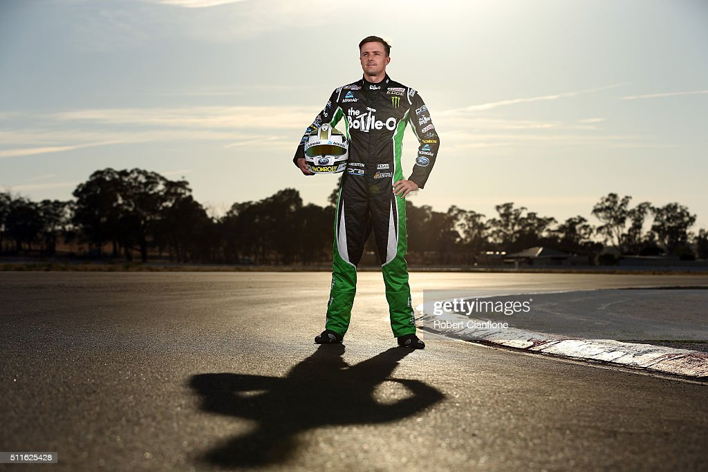 Mark Winterbottom driver of the BottleO Ford poses during a V8 Supercars portrait session on February 22 2016 at the Winton International Raceway in...