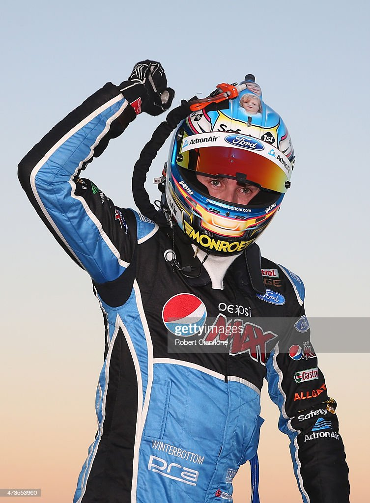 Mark Winterbottom driver of the Pepsi Max Crew Ford celebrates after winning Race 11 for the V8 Supercars Winton SuperSprint at Winton Motor Raceway...