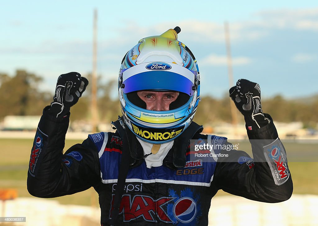 Mark Winterbottom driver of the Pepsi Max Crew Ford celebrates after winning race 9 of the Winton 400 which is round three of the V8 Super...