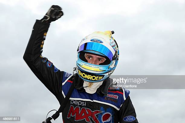 Mark Winterbottom driver of the Pepsi Max Crew Ford celebrates after winning race 13 at the ITM 500 which is round four of the V8 Super Championship...