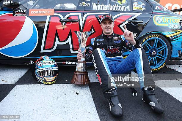 Mark Winterbottom driver of the Pepsi Max Crew Ford poses with the V8 Supercar Championship Series Trophy after claiming his maiden V8 Supercar...