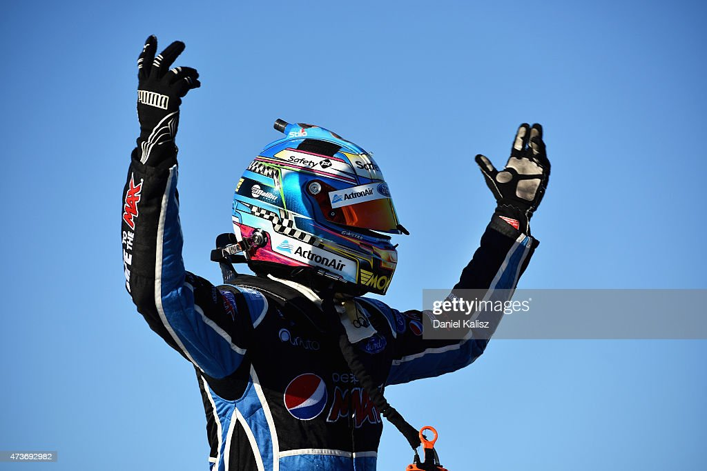 Mark Winterbottom driver of the Prodrive Racing Australia Ford FG X Falcon reacts after winning Race 3 for the V8 Supercars Winton SuperSprint at...