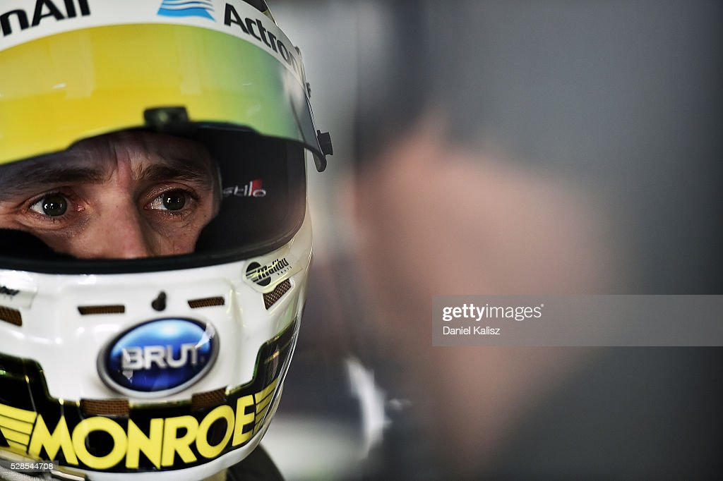 <a gi-track='captionPersonalityLinkClicked' href=/galleries/search?phrase=Mark+Winterbottom&family=editorial&specificpeople=675314 ng-click='$event.stopPropagation()'>Mark Winterbottom</a> driver of the #1 The Bottle-O Racing Ford Falcon FGX during practice for the V8 Supercars Perth SuperSprint at Barbagallo Raceway on May 6, 2016 in Perth, Australia.