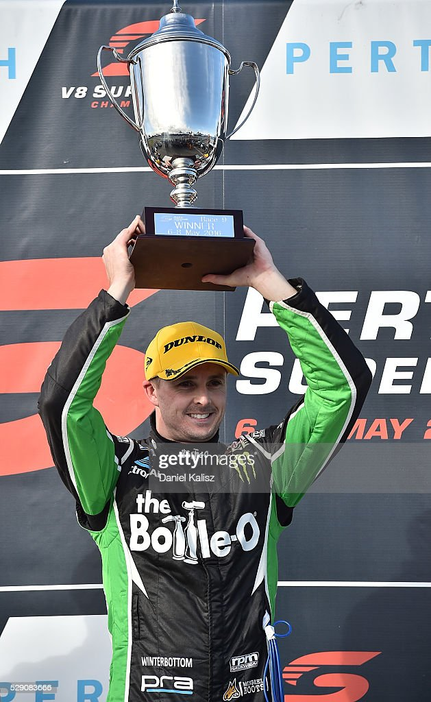 Mark Winterbottom driver of the The BottleO Racing Ford Falcon FGX celebrates after winning race 2 for the V8 Supercars Perth SuperSprint at...