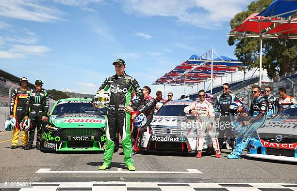 Mark Winterbottom driver of the The BottleO Racing Ford is seen during filming of a television commercial ahead of the V8 Supercars Clipsal 500 at...