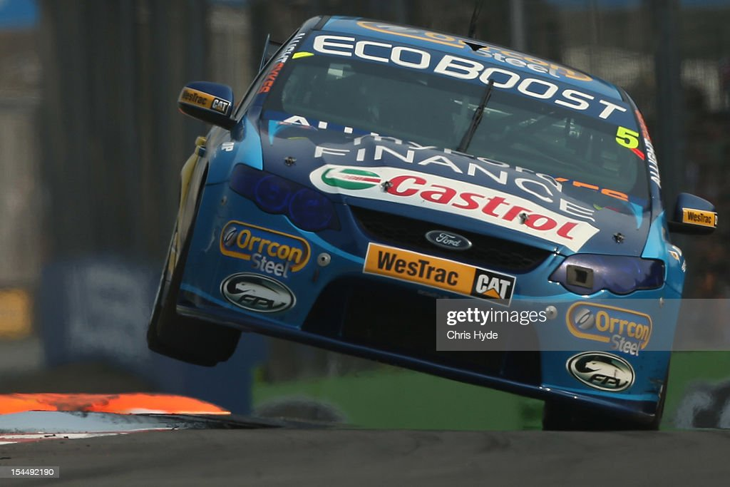 <a gi-track='captionPersonalityLinkClicked' href=/galleries/search?phrase=Mark+Winterbottom&family=editorial&specificpeople=675314 ng-click='$event.stopPropagation()'>Mark Winterbottom</a> drives the #5 Orrcon Steel FPR Ford during race 23 of the Gold Coast 600, which is round 12 of the V8 Supercars Championship Series at the Gold Coast Street Circuit on October 21, 2012 on the Gold Coast, Australia.