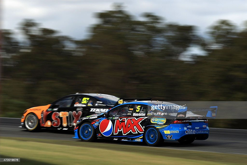 Mark Winterbottom drives the #5 Pepsi Max Crew Ford Falcon FG during practice for race 9 during the V8 Supercars - Perth Supersprint at Barbagallo Raceway on May 3, 2015 in Perth, Australia.