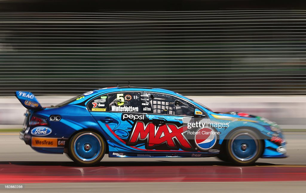 <a gi-track='captionPersonalityLinkClicked' href=/galleries/search?phrase=Mark+Winterbottom&family=editorial&specificpeople=675314 ng-click='$event.stopPropagation()'>Mark Winterbottom</a> drives the #5 Pepsi Max Crew FPR Ford during practice for the Clipsal 500, which is round one of the V8 Supercar Championship Series, at the Adelaide Street Circuit on March 1, 2013 in Adelaide, Australia.