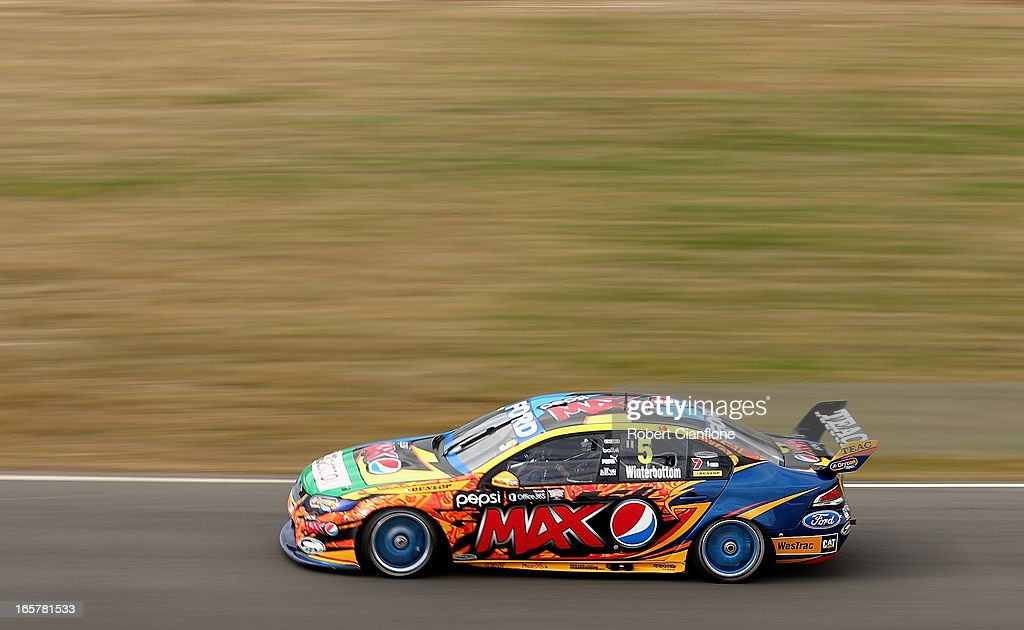 <a gi-track='captionPersonalityLinkClicked' href=/galleries/search?phrase=Mark+Winterbottom&family=editorial&specificpeople=675314 ng-click='$event.stopPropagation()'>Mark Winterbottom</a> drives the #5 Pepsi Max Crew FPR Ford during race three for round two of the V8 Supercar Championship Series at Symmons Plains Raceway on April 6, 2013 in Launceston, Australia.