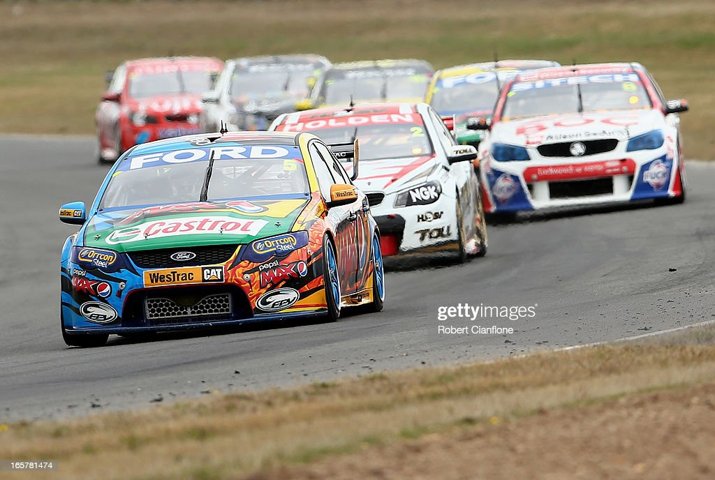 <a gi-track='captionPersonalityLinkClicked' href=/galleries/search?phrase=Mark+Winterbottom&family=editorial&specificpeople=675314 ng-click='$event.stopPropagation()'>Mark Winterbottom</a> drives the #5 Pepsi Max Crew FPR Ford during qualifying / race three for round two of the V8 Supercar Championship Series at Symmons Plains Raceway on April 6, 2013 in Launceston, Australia.