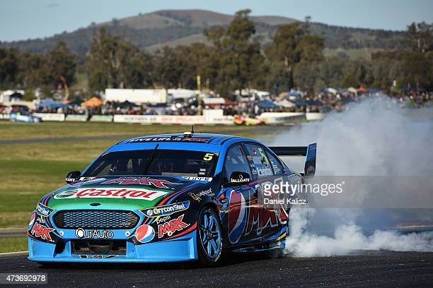 Mark Winterbottom drives the Prodrive Racing Australia Ford FG X Falcon after winning Race 3 for the V8 Supercars Winton SuperSprint at Winton Motor...