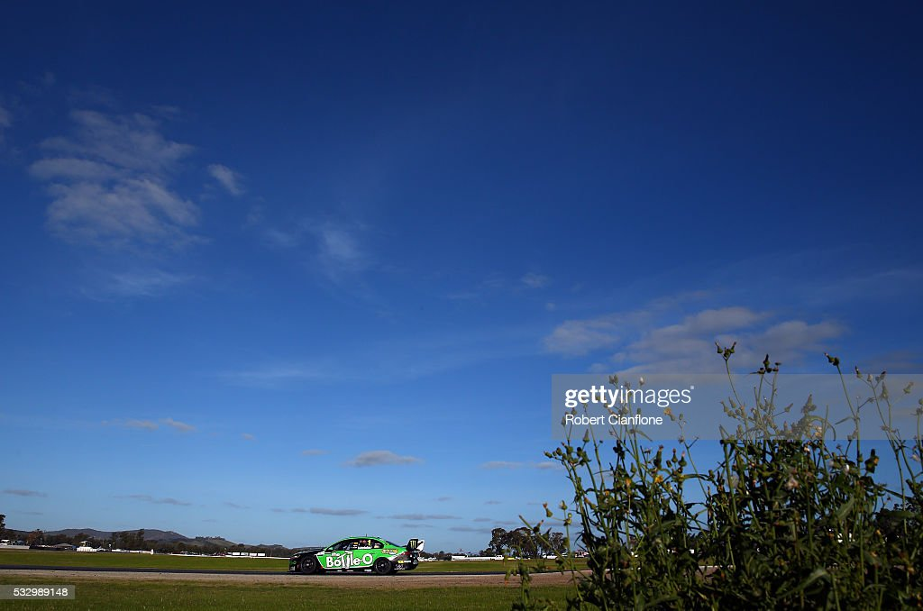 Mark Winterbottom drives the The BottleO Racing Ford during practice ahead of the Winton round of V8 SUpercars at Winton Motor Raceway on May 20 2016...