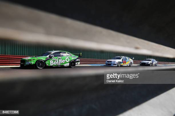 Mark Winterbottom drives the The BottleO Racing Ford Falcon FGX during the Sandown 500 which is part of the Supercars Championship at Sandown...