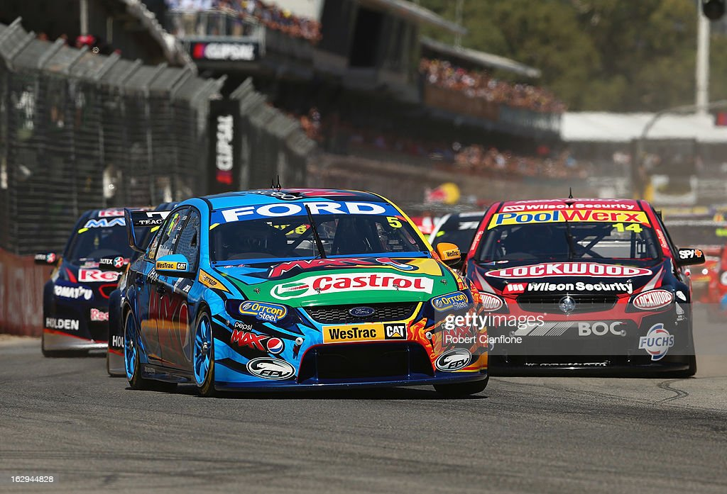 Mark Winterbottom driving the #5 Pepsi Max Crew FPR Ford leads at the start of race one of the Clipsal 500, which is round one of the V8 Supercar Championship Series, at the Adelaide Street Circuit on March 2, 2013 in Adelaide, Australia.