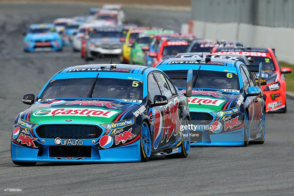 Mark Winterbottom in the Pepsi Max Crew Ford Falcon FG leads team mate Chaz Mostert in race 7 during the V8 Supercars Perth Supersprint at Barbagallo...