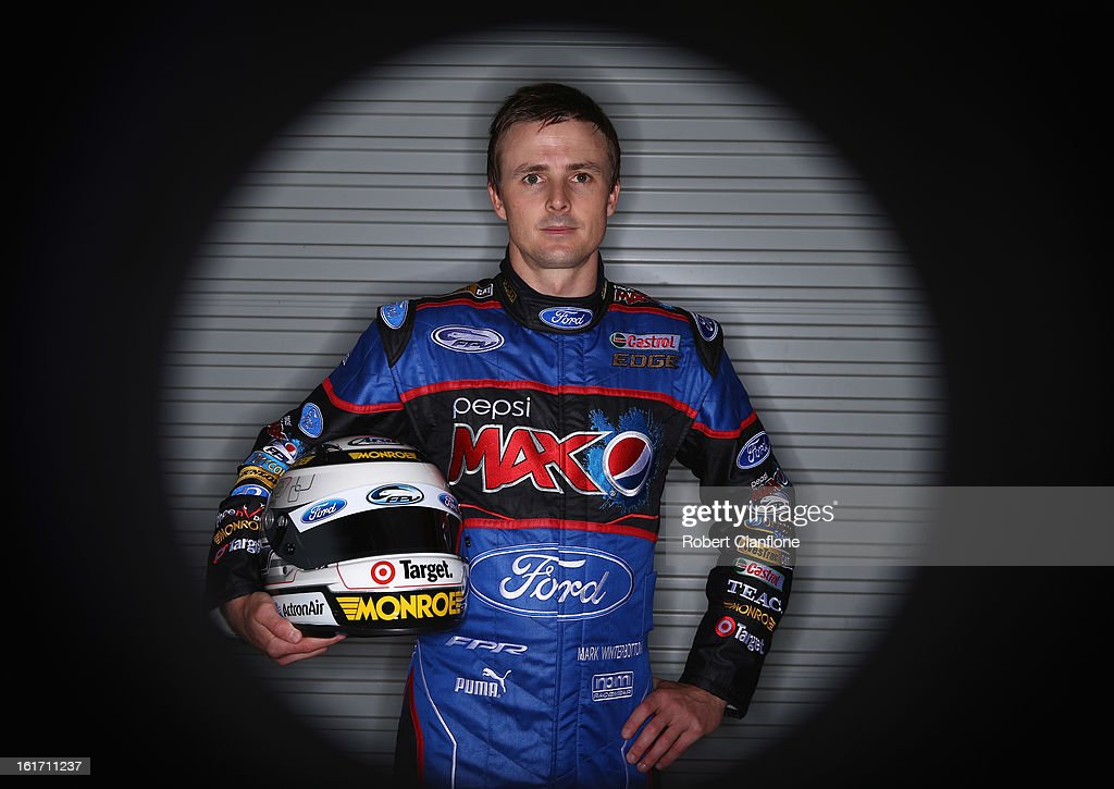 Mark Winterbottom of Ford Performance Racing poses during a V8 Supercars driver portrait session at Eastern Creek Raceway on February 15, 2013 in Sydney, Australia.