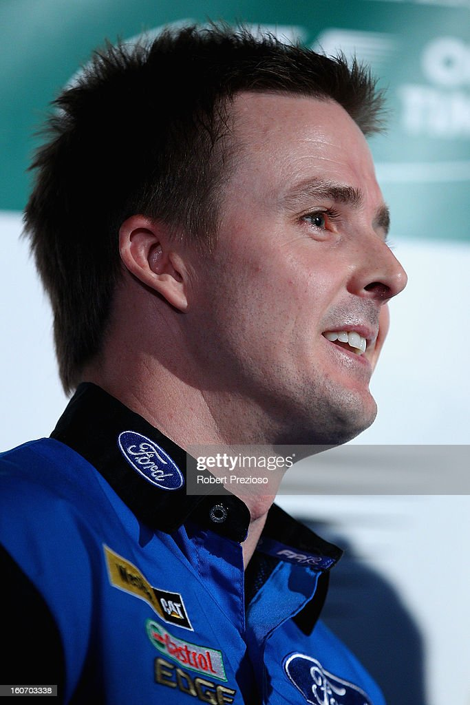 <a gi-track='captionPersonalityLinkClicked' href=/galleries/search?phrase=Mark+Winterbottom&family=editorial&specificpeople=675314 ng-click='$event.stopPropagation()'>Mark Winterbottom</a> V8 Ambassador speaks to the media during the 2013 Formula One Australian Grand Prix Launch on February 5, 2013 in Melbourne, Australia.