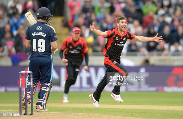 Mark Wood of Durham After the dismissal of Gary Ballance during the Natwest T20 Blast match between Yorkshire and Durham at Edgbaston cricket ground...