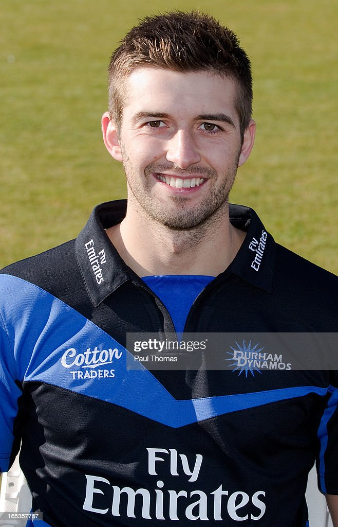 Mark Wood of Durham CCC wears the FriendsLife T20 kit during a pre-season photocall at The Riverside on April 3, 2013 in Chester-le-Street, England.
