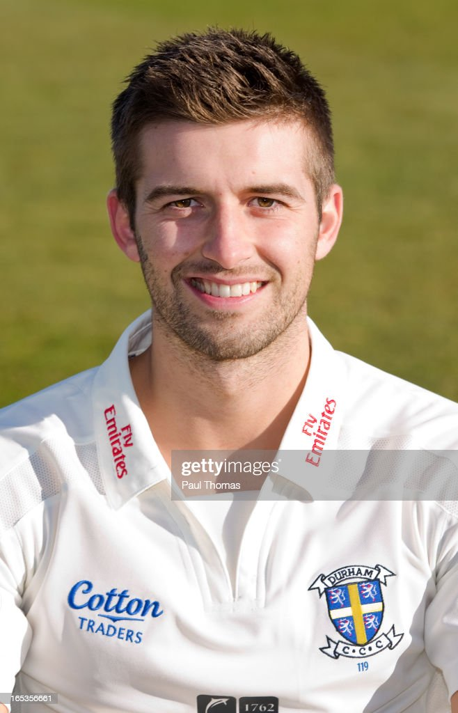 Mark Wood of Durham CCC wears the LV= County Championship kit during a pre-season photocall at The Riverside on April 3, 2013 in Chester-le-Street, England.