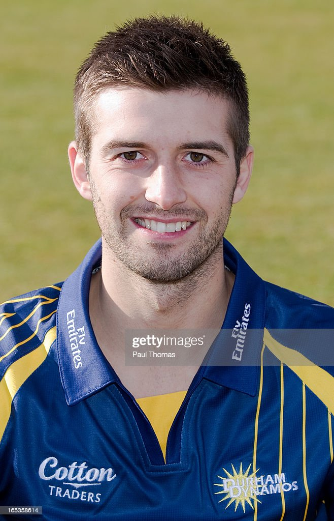 Mark Wood of Durham CCC wears the Yorkshire Bank 40 kit during a pre-season photocall at The Riverside on April 3, 2013 in Chester-le-Street, England.
