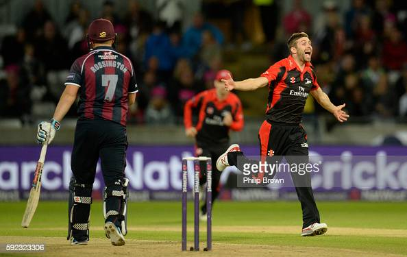 Mark Wood of Durham celebrates after dismissing Adam Rossington during the Natwest T20 Blast match between Northamptonshire and Durham at Edgbaston...