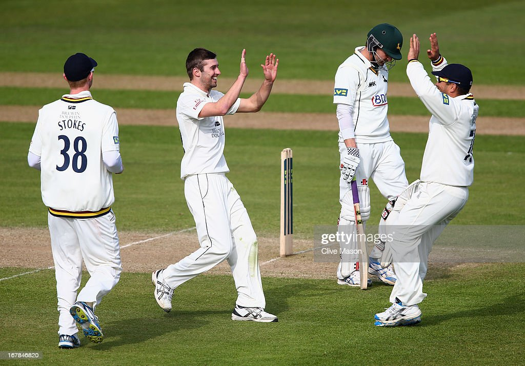 Mark Wood of Durham celebrates dismissing <a gi-track='captionPersonalityLinkClicked' href=/galleries/search?phrase=Ed+Cowan&family=editorial&specificpeople=2207390 ng-click='$event.stopPropagation()'>Ed Cowan</a> of Nottinghamshire during day three of the LV County Championship division one match between Nottinghamshire and Durham at Trent Bridge on May 01, 2013 in Nottingham, England.