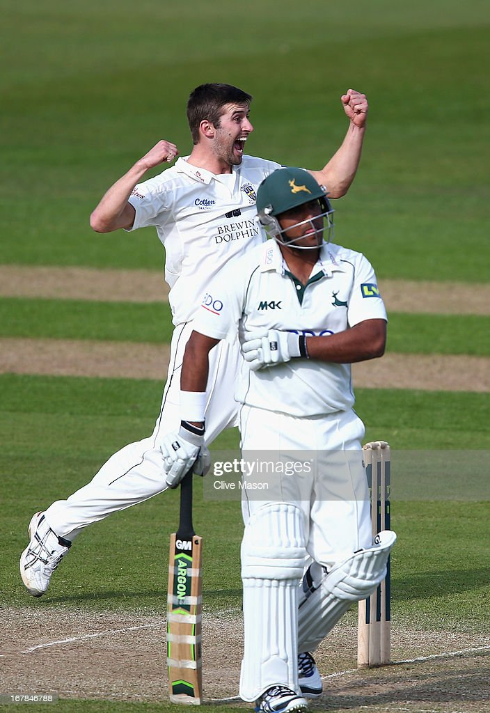 Mark Wood of Durham celebrates dismissing <a gi-track='captionPersonalityLinkClicked' href=/galleries/search?phrase=Samit+Patel&family=editorial&specificpeople=597936 ng-click='$event.stopPropagation()'>Samit Patel</a> of Nottinghamshire during day three of the LV County Championship division one match between Nottinghamshire and Durham at Trent Bridge on May 01, 2013 in Nottingham, England.