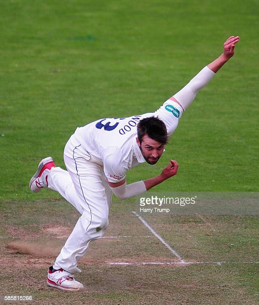 Mark Wood of Durham during Day One of the Specsavers County Championship Division One match between Somerset and Durham at The Cooper Associates...