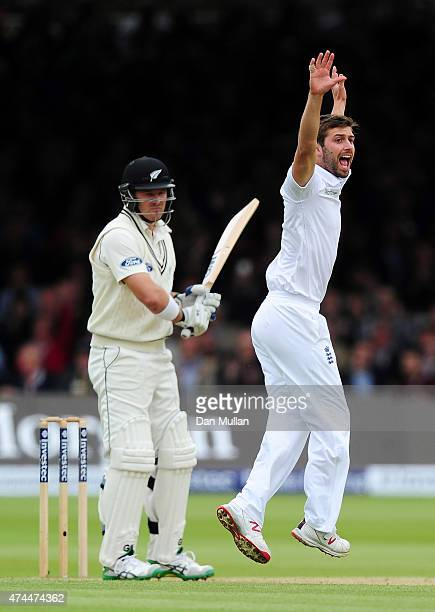Mark Wood of England appeals successfully for the wicket of Corey Anderson of New Zealand during day three of the 1st Investec Test Match between...