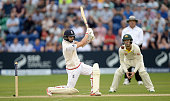 Mark Wood of England bats during day three of the 1st Investec Ashes Test match between England and Australia at SWALEC Stadium on July 10 2015 in...