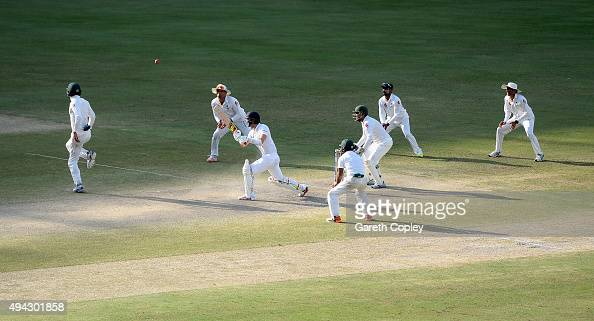 Mark Wood of England bats surrounded by Pakistan fielders during day five of the 2nd test match between Pakistan and England at Dubai Cricket Stadium...