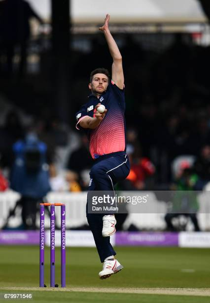 Mark Wood of England bowls during the Royal London One Day International between England and Ireland at Lord's Cricket Ground on May 7 2017 in London...