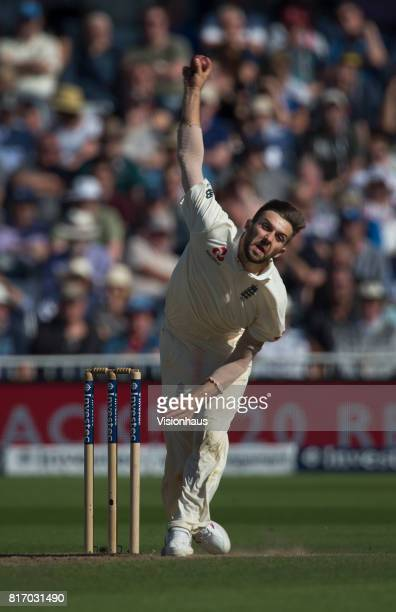 Mark Wood of England bowls during the third day of the second test between England and South Africa at Trent Bridge on July 16 2017 in Nottingham...